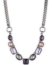DKNY - Hematite-tone & Black Rubber Purple Stone Collar Necklace - Lyst