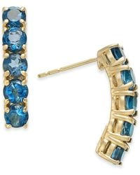 Macy's - London Blue Topaz Curved Bar Drop Earrings (2-3/4 Ct. T.w.) In 14k Gold - Lyst