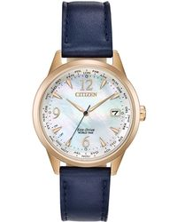 99575d577be Lyst - Citizen Women S Eco-Drive World Time A-T Camel Leather Strap ...