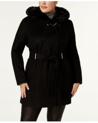 CALVIN KLEIN 205W39NYC - Plus Size Faux-fur-collar Belted Hardware Coat - Lyst
