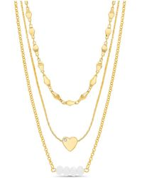 Kensie - Rhinestone Heart And Beaded Bar Station Triple Layered Chain Necklace - Lyst