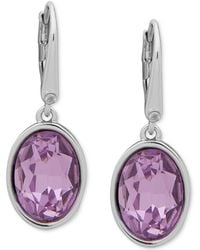 DKNY - Silver-tone Colored Crystal Drop Earrings, Created For Macy's - Lyst