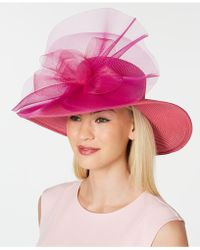 August Accessories - Gathered Tulle Wide Brim Dressy Hat - Lyst