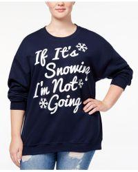Hybrid - Trendy Plus Size Snowing Graphic-print Sweatshirt - Lyst