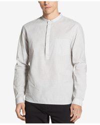 DKNY - Banded-collar Grid-print Shirt - Lyst