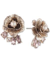 Marchesa - Gold-tone Crystal & Imitation Pearl Flower Stud Earrings - Lyst