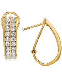 Macy's - Diamond Hoop Earrings (1 Ct. T.w.) In 14k White Gold Or Gold - Lyst