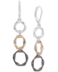 Nine West - Tri-tone Multi-ring Linear Drop Earrings - Lyst