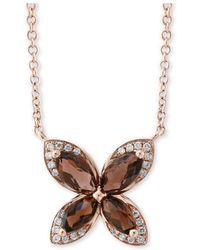 "Effy Collection - Effy® Smoky Quartz (1-1/10 Ct. T.w.) & Diamond (1/10 Ct. T.w.) 18"" Pendant Necklace In 14k Rose Gold - Lyst"