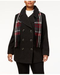 London Fog | Plus Size Peacoat With Scarf | Lyst
