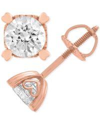 Macy's - Diamond Stud Earrings In Heart Shape Prongs ( 1 Ct. T.w.) In 14k Rose Gold - Lyst