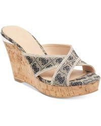 Guess - Eleonora Platform Wedge Slide Sandals - Lyst