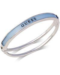 Guess - Silver-tone Logo Bangle Bracelet - Lyst