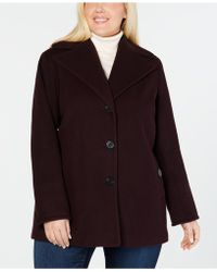 4175bda65f009 Lyst - Calvin Klein Plus Size Hooded Single-Breasted Raincoat in Red