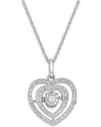 Twinkling Diamond Star - Diamond Nested Heart Pendant Necklace In 10k White Gold (1/5 Ct. T.w.) - Lyst