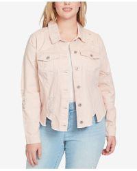Jessica Simpson - Trendy Plus Size Cotton Ripped Denim Jacket - Lyst
