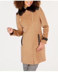 Via Spiga - Asymmetrical Faux-fur-collar Coat - Lyst