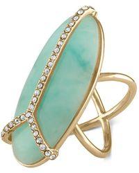 RACHEL Rachel Roy - Gold-tone Pavé & Blue Stone Peace Sign Ring - Lyst