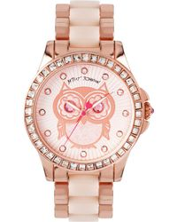 Betsey Johnson - Women's Blush And Rose Gold-tone Bracelet Watch 40mm Bj00246-10 - Lyst
