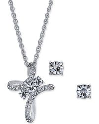 "Charter Club - Silver-tone Crystal Cross Pendant Necklace & Stud Earrings Set, 17"" + 2"" Extender, Created For Macy's - Lyst"