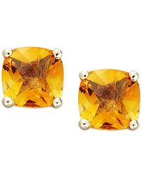 Macy's - 14k Gold Earrings, Cushion Cut Citrine Stud Earrings (1-3/4 Ct. T.w.) - Lyst