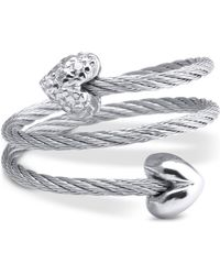 Charriol - White Topaz Heart Wrap Ring (1/10 Ct. T.w.) In Stainless Steel & Sterling Silver - Lyst