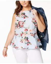 Tommy Hilfiger - Plus Size Cotton Peplum Top, Created For Macy's - Lyst