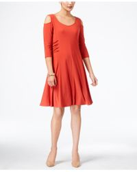 Love Scarlett - Petite Laced-sides Cold-shoulder Dress - Lyst