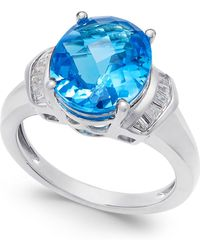 Macy's | Swiss Blue Topaz (4-9/10 Ct. T.w.) And White Topaz (1/4 Ct. T.w.) Ring In Sterling Silver | Lyst