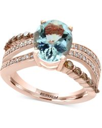 Effy Collection | Aquamarine (2-5/8 Ct. T.w.) And Diamond (3/8 Ct. T.w.) Ring In 14k Rose Gold | Lyst