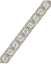 Macy's - Sterling Silver-plated Diamond Accent Greek Key Bracelet - Lyst