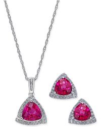 Macy's | Lab-created Ruby (3 Ct. T.w.) And White Sapphire (1/3 Ct. T.w.) Pendant Necklace And Matching Stud Earrings In Sterling Silver | Lyst