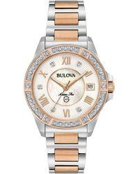 Bulova - Women's Diamond Accent Marine Star Two-tone Stainless Steel Bracelet Watch 32mm 98r234 - Lyst