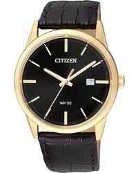 Citizen - Men's Quartz Brown Leather Strap Watch 39mm Bi5002-06e - Lyst
