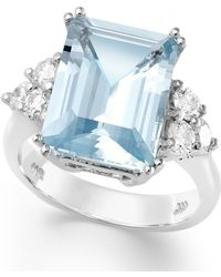 Macy's   14k White Gold Ring, Aquamarine (5-1/2 Ct. T.w.) And Diamond (1/2 Ct. T.w.) Emerald-cut Ring   Lyst