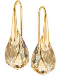 Swarovski - Gold-tone Champagne Crystal Drop Earrings - Lyst