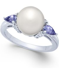 Macy's - Cultured Freshwater Pearl (9mm), Tanzanite (3/8 Ct. T.w.) & Diamond Accent Ring In 14k White Gold - Lyst