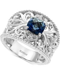 Effy Collection - London Blue Topaz (1-3/4 Ct. T.w.) And White Sapphire Accent Statement Ring In Sterling Silver - Lyst