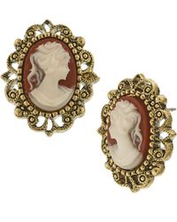 2028 - Gold-tone Simulated Cameo Post Earrings - Lyst