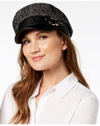 Steve Madden - Tweed & Faux Leather Newsboy Cap - Lyst