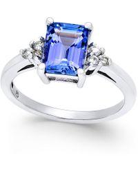 Macy's - Tanzanite (1-3/4 Ct. T.w.) And Diamond (1/8 Ct. T.w.) Ring In 14k White Gold - Lyst