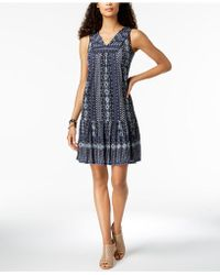 Style & Co. - Printed V-neck Flounce Dress, Created For Macy's - Lyst