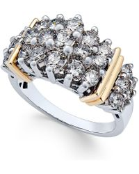 Macy's - Diamond Cluster Ring (2 Ct. T.w.) In 14k Two-tone Gold - Lyst