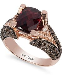 Le Vian - Raspberry Rhodolite Garnet (3 Ct. Tw.w.), Chocolate Diamond (1-1/5 Ct. T.w.) And White Diamond Accent Ring In 14k Rose Gold - Lyst