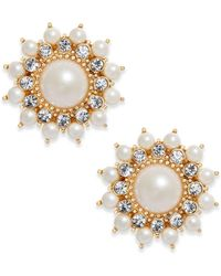 Charter Club - Gold-tone Imitation Pearl & Crystal Starburst Stud Earrings - Lyst