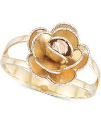 Macy's - Tri-colour Flower Split Shank Ring In 14k Gold, White Gold & Rose Gold - Lyst