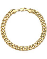 Macy's - Cuban Chain Bracelet In 14k Gold - Lyst