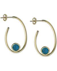 Reconstituted Turquoise 7 mm /& 12 mm Dangle Earrings 14K White Gold Lever Backs