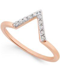 Macy's - Diamond V Ring (1/10 Ct. T.w.) In Sterling Silver - Lyst