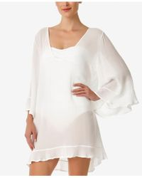 Anne Cole - Sheer Ruffled Tunic Cover-up - Lyst